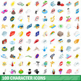100 character icons set, isometric 3d style. 100 character icons set in isometric 3d style for any design vector illustration Royalty Free Stock Photos