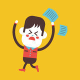 Character illustration design. Boy feeling annoyed cartoon,eps Stock Photography
