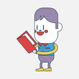Character illustration design. Boy reading book cartoon,eps Stock Images
