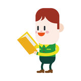 Character illustration design. Boy reading book cartoon,eps Royalty Free Stock Images