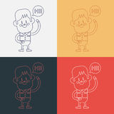 Character illustration design. Boy saying hi cartoon,eps Royalty Free Stock Image