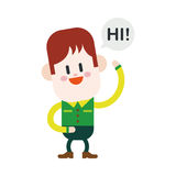 Character illustration design. Boy saying hi cartoon,eps stock illustration