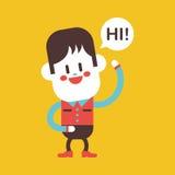 Character illustration design. Boy saying hi cartoon,eps Stock Photos