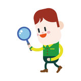 Character illustration design. Boy using a magnifying glass cart Stock Photos