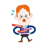 Character illustration design. Businessman busy cartoon,eps Stock Photos