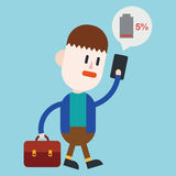 Character illustration design. Businessman cellphone out of char Royalty Free Stock Image