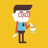 Character illustration design. Businessman drinking coffee carto Royalty Free Stock Photo