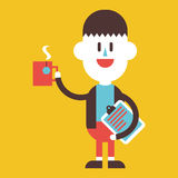 Character illustration design. Businessman drinking coffee carto Stock Image