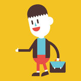 Character illustration design. Businessman going to work cartoon Royalty Free Stock Photo