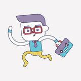 Character illustration design. Businessman going to work cartoon Royalty Free Stock Image