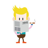 Character illustration design. Businessman reading news and smok Stock Photo