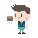 Character illustration design. Businessman sending letter cartoo Royalty Free Stock Photography
