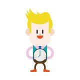 Character illustration design. Businessman on time cartoon,eps Royalty Free Stock Image