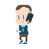 Character illustration design. Businessman using cell phone cart Stock Images