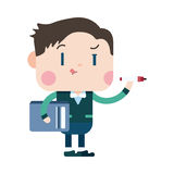 Character illustration design. Businessman writing cartoon,eps Royalty Free Stock Photo