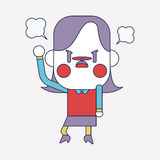 Character illustration design. Businesswoman angry cartoon,eps Royalty Free Stock Photography