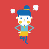 Character illustration design. Businesswoman angry cartoon Royalty Free Stock Image