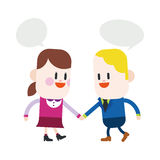 Character illustration design. Girl and boy talking cartoon,eps. Vector illustration file Royalty Free Stock Images