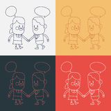 Character illustration design. Girl and boy talking cartoon,eps vector illustration