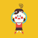 Character illustration design. Girl confused cartoon,eps Royalty Free Stock Photo