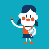 Character illustration design. Girl greeting people cartoon,eps Stock Images