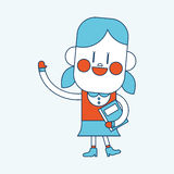 Character illustration design. Girl greeting people cartoon,eps Stock Image