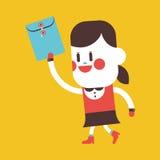Character illustration design. Girl sending files cartoon,eps Stock Photo
