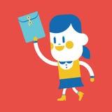 Character illustration design. Girl sending files cartoon,eps Royalty Free Stock Image