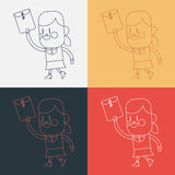 Character illustration design. Girl sending files cartoon,eps Stock Photography