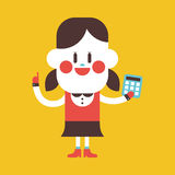 Character illustration design. Girl using calculator cartoon,eps Stock Photo