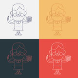 Character illustration design. Girl using calculator cartoon,eps Stock Photography