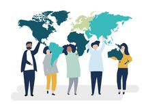 Character illustration of diverse people and the world stock photo
