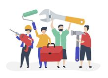 Character illustration of home improvement concept stock illustration