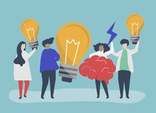 Character illustration of people with creative ideas icons stock illustration