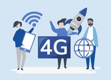 Character illustration of people with 4g icon stock illustration