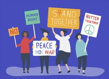 Character illustration of people holding protest signs vector illustration