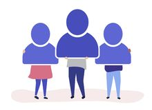 Character illustration of people holding user account icons royalty free illustration