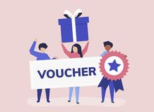 Character illustration of people holding voucher icons royalty free illustration
