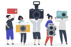 Character illustration of photographers with cameras royalty free stock image