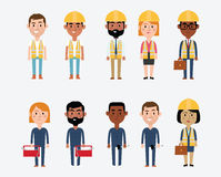 Character Illustrations of Construction Occupations Royalty Free Stock Photos
