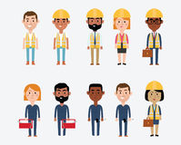 Character Illustrations Depicting Construction Occupations Stock Photography