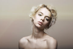 Character. Individuality. Genuine Sentimental Blond Hair Woman Dreaming Stock Image