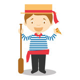 Character from Italy dressed in the traditional way as a Venice gondolier eating pizza. Stock Photo