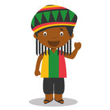 Character from Jamaica dressed in the traditional way with dreadlocks. Vector Illustration. Kids of the World Collection Stock Photography
