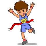 Character of kid winner run Stock Photo