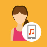 Character lady smartphone music application. Vector illustration eps 10 Royalty Free Stock Photo
