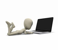 Character with laptop. 3d illustration of a cartoon character using a laptop Stock Photography
