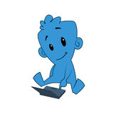 Character with laptop. Illustration of blue cartoon character with a laptop Royalty Free Stock Images