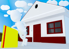 Character leaning to a advertising board in front of a house Stock Photo