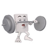 Character lifting heavy barbell Stock Photos